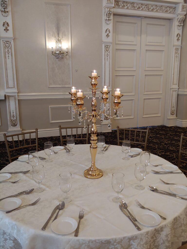 Victorian Golden Candelabras Centerpieces