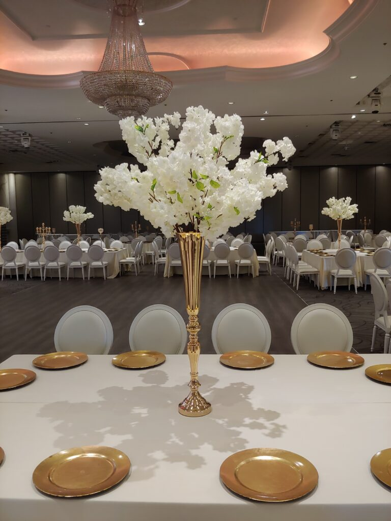 Ivory White Cherry Blossoms with Long Table