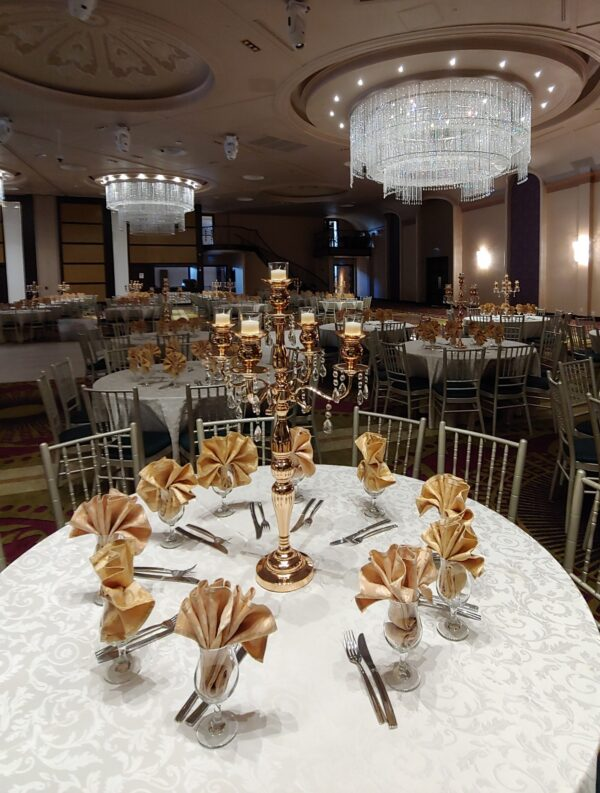 Tall Crystal Candelabra Centerpieces