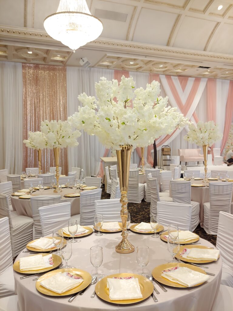 Ivory White Cherry Blossoms Centerpieces