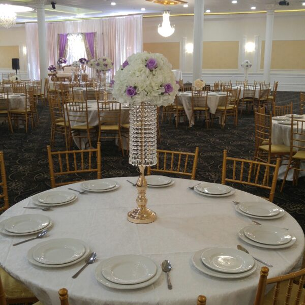 Crystal Garlands Gold Centerpieces with Silk Florals