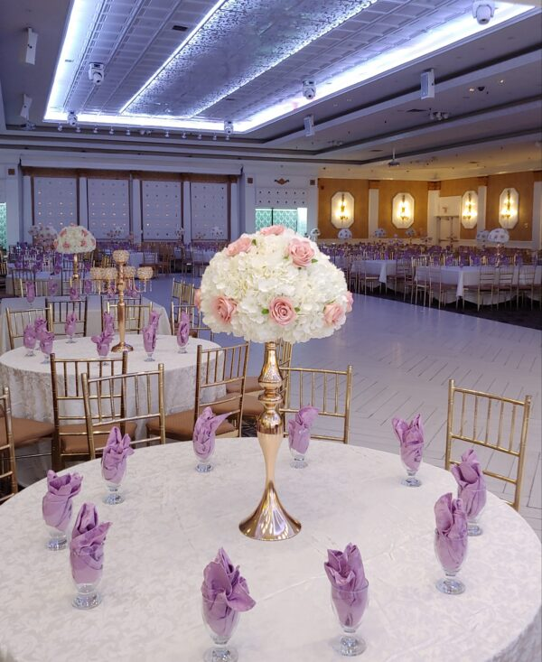 Blush Pink Roses and White Hydrangeas with Stands
