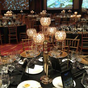 Crystal Globe Gold Candelabras