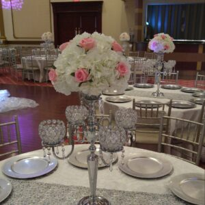 Silver Candelabras with Centerpieces