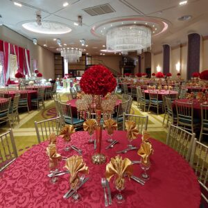 Dark Red Hydrangeas with Gold Candelabras