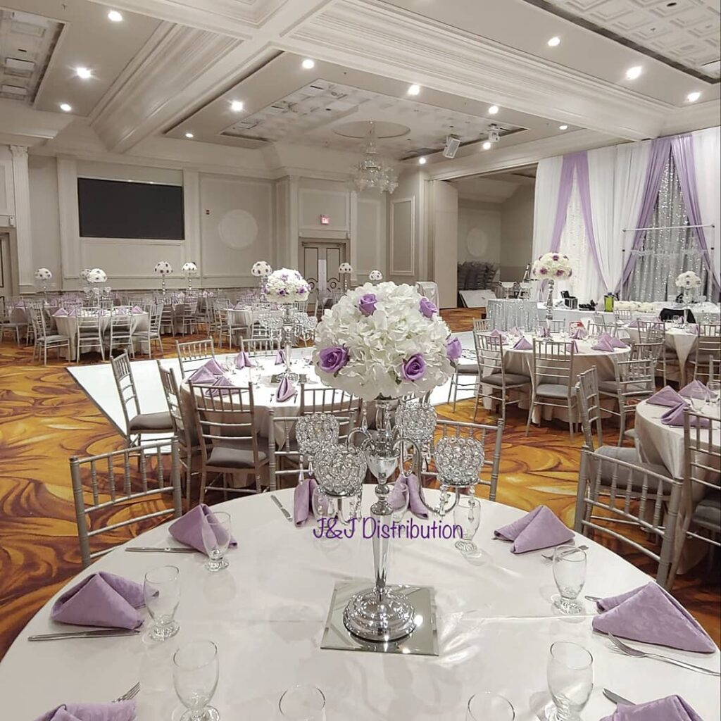 5 Arm Silver Candelabras with Flowers Centerpieces