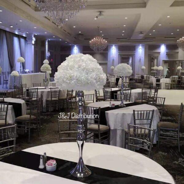 Silver metallic stands with silk florals centerpieces